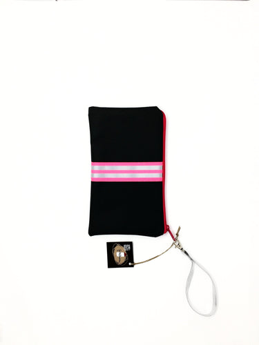 fil@home make-up / clutch bag with strap  - grey with pink contrast stripe