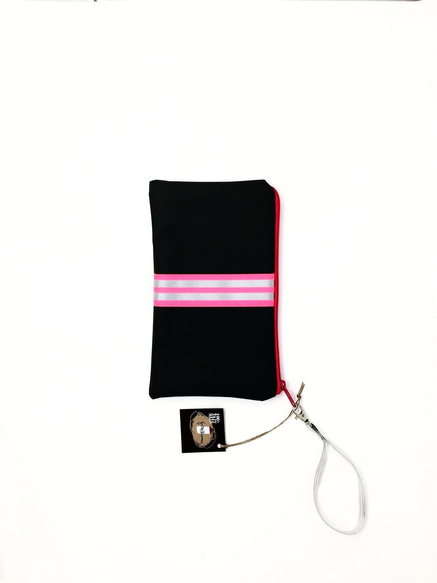 fil@home make-up / clutch bag with strap  - grey with pink contrast stripes