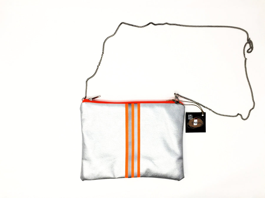 fil@home handbag with chain - silver with orange contrast stripes