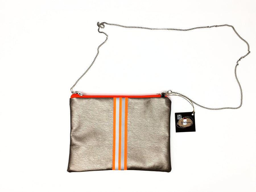 fil@home handbag with chain - bronze with orange contrast stripes