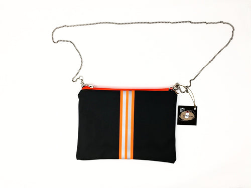 fil@home handbag with chain - grey with orange contrast stripe