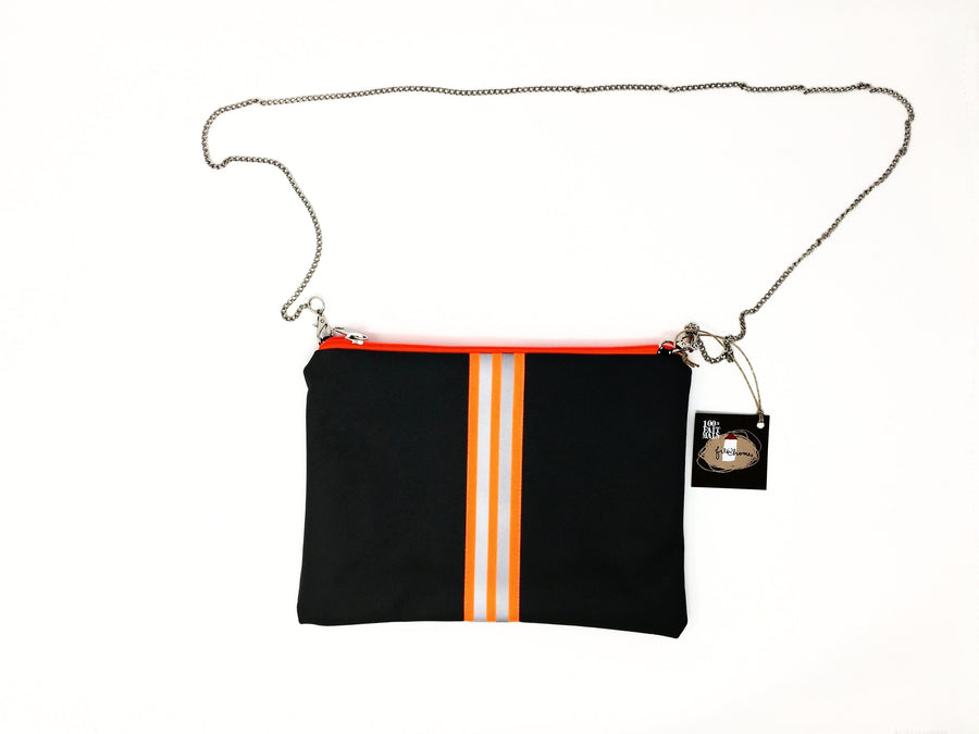 fil@home handbag with chain - grey with orange contrast stripes