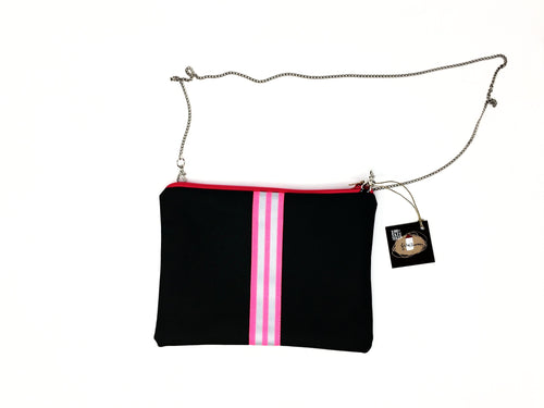 fil@home handbag with chain - grey with pink contrast stripe