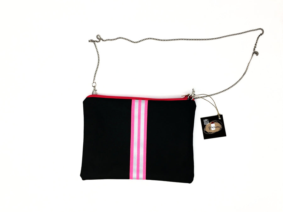 fil@home handbag with chain - grey with pink contrast stripes