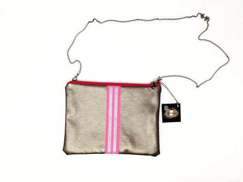 fil@home handbag with chain - bronze with pink contrast stripe