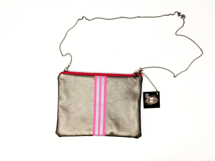 fil@home handbag with chain - bronze with pink contrast stripes