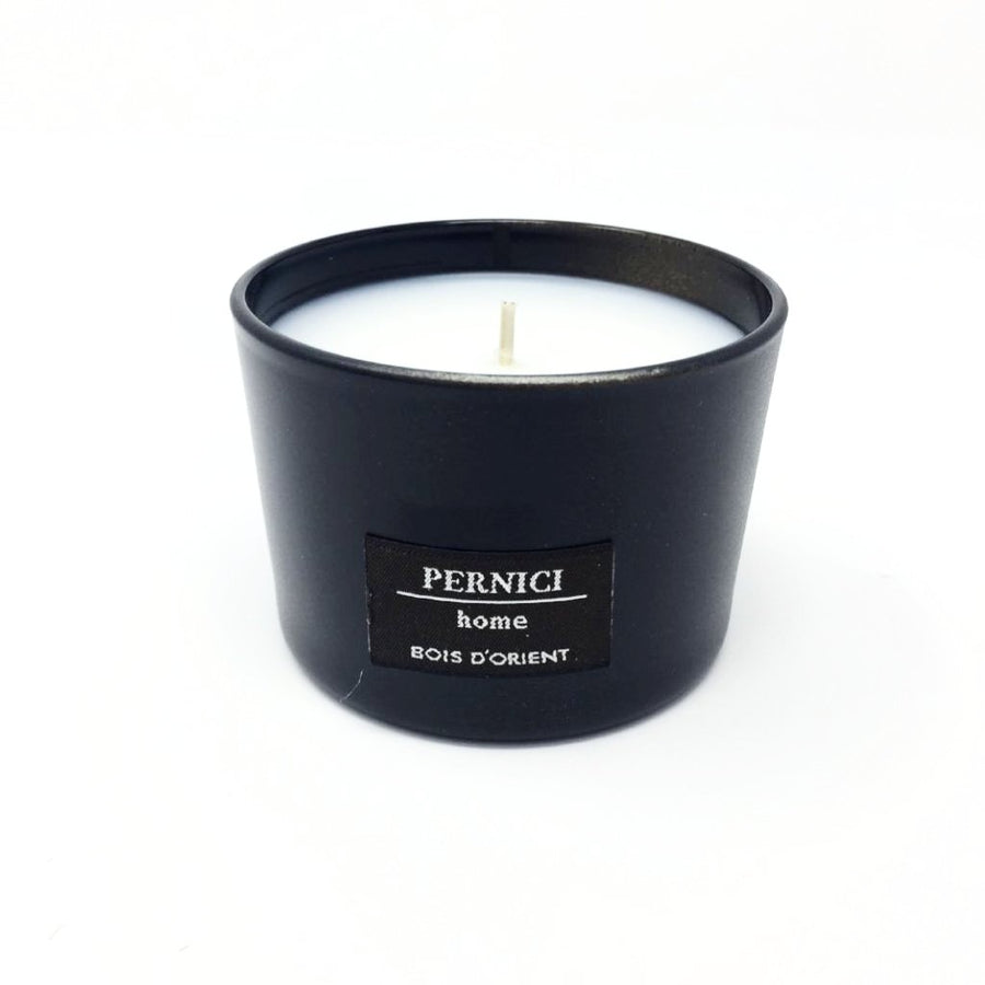 Italian hand made white Pernici candle in black glass