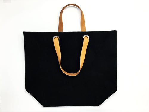 Dafne Pascolini Recycled Cellulose Fibre Shopping Bag, with leather handles - Black