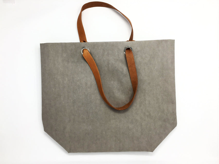 Dafne Pascolini Recycled Cellulose Fibre Shopping Bag, with leather handles - Grey
