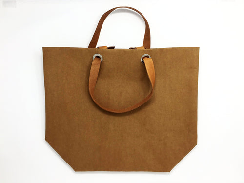 Dafne Pascolini Recycled Cellulose Fibre Shopping Bag, with leather handles - Havana