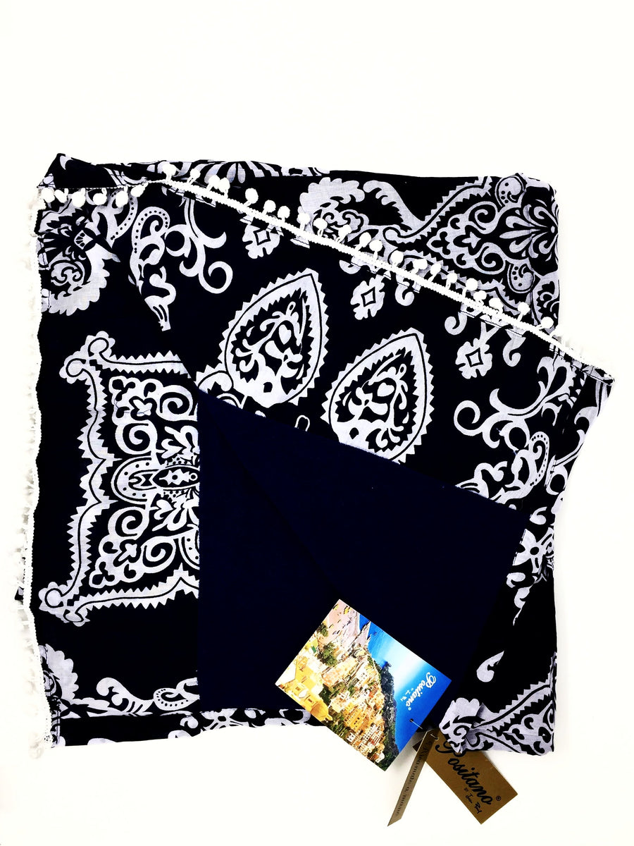POSITANO Navy/White Printed Towel.  100% cotton.