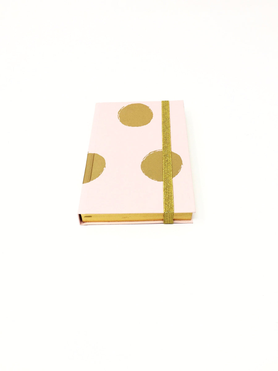 Italian small pink with gold blobs lined notebook