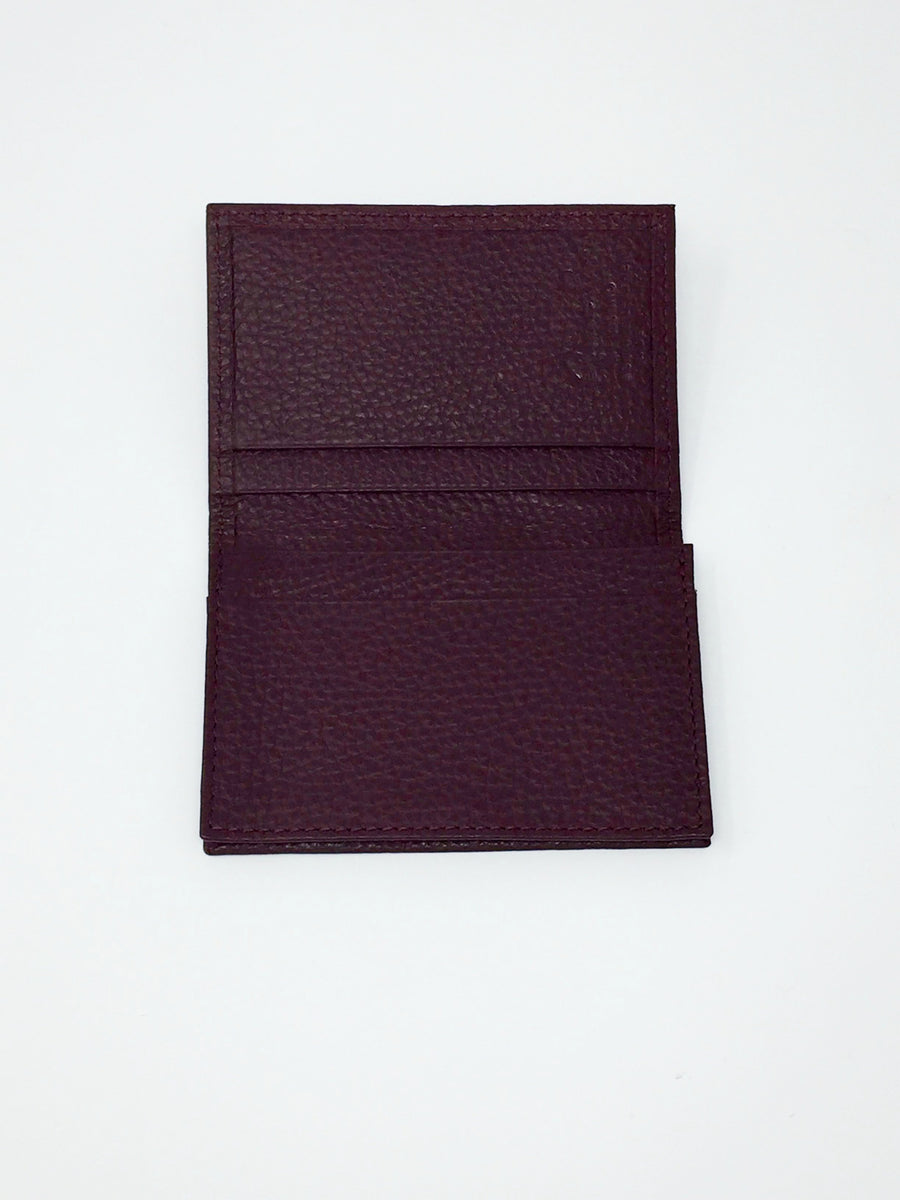 Giemme Box - handmade leather business card / credit card holder - burgundy