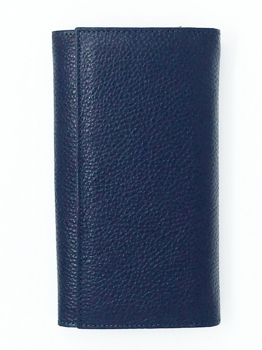 italian hand made navy purse leather