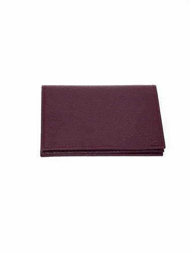 italian hand made credit card holder in burgundy leather