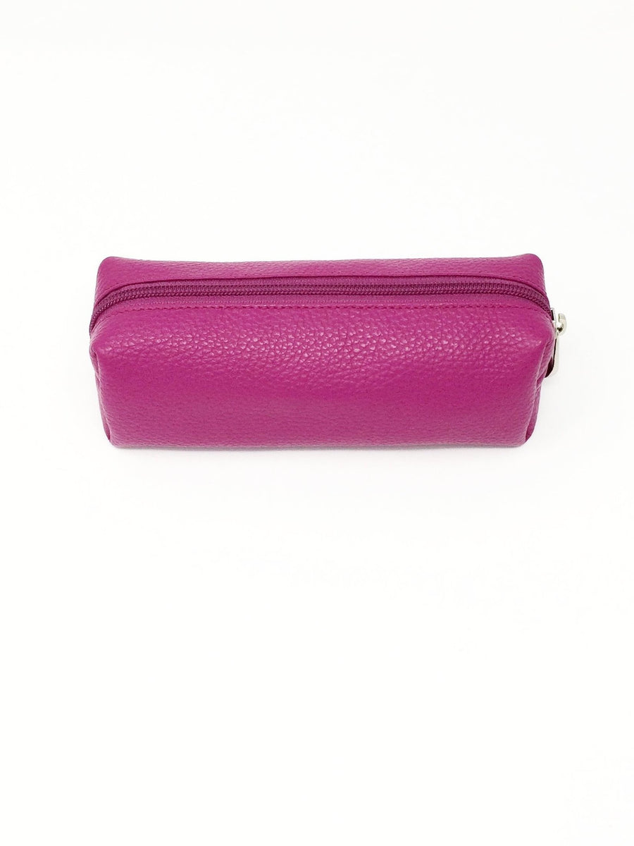 italian hand made pink leather make up bag purse