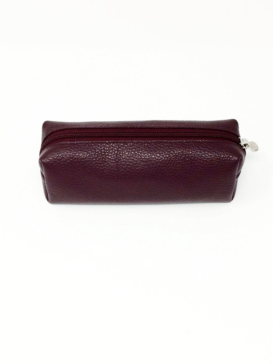 italian hand made leather make up case in burgundy