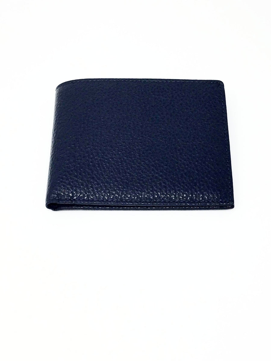 italian hand made navy blue leather wallet mens