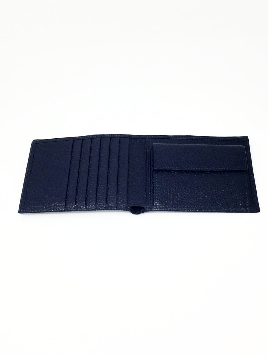 italian hand made mens leather wallet navy
