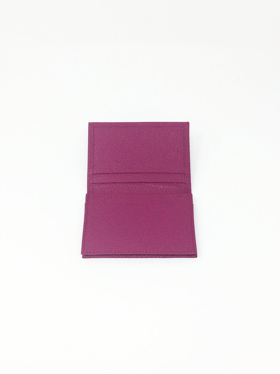 italian hand made fuschia pink leather credit card holder