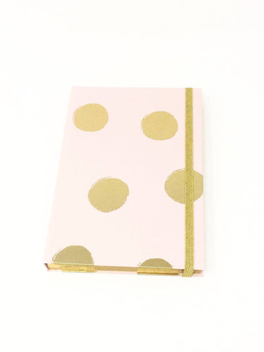 Giemme Box notebook - pink with gold blobs. Blank pages with gold border