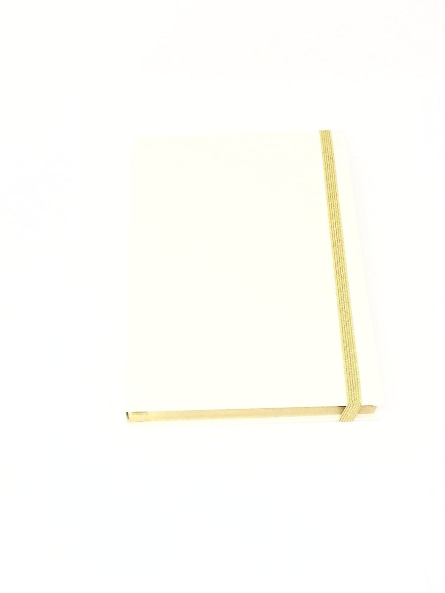 Giemme Box notebook - ivory. Blank pages with gold border