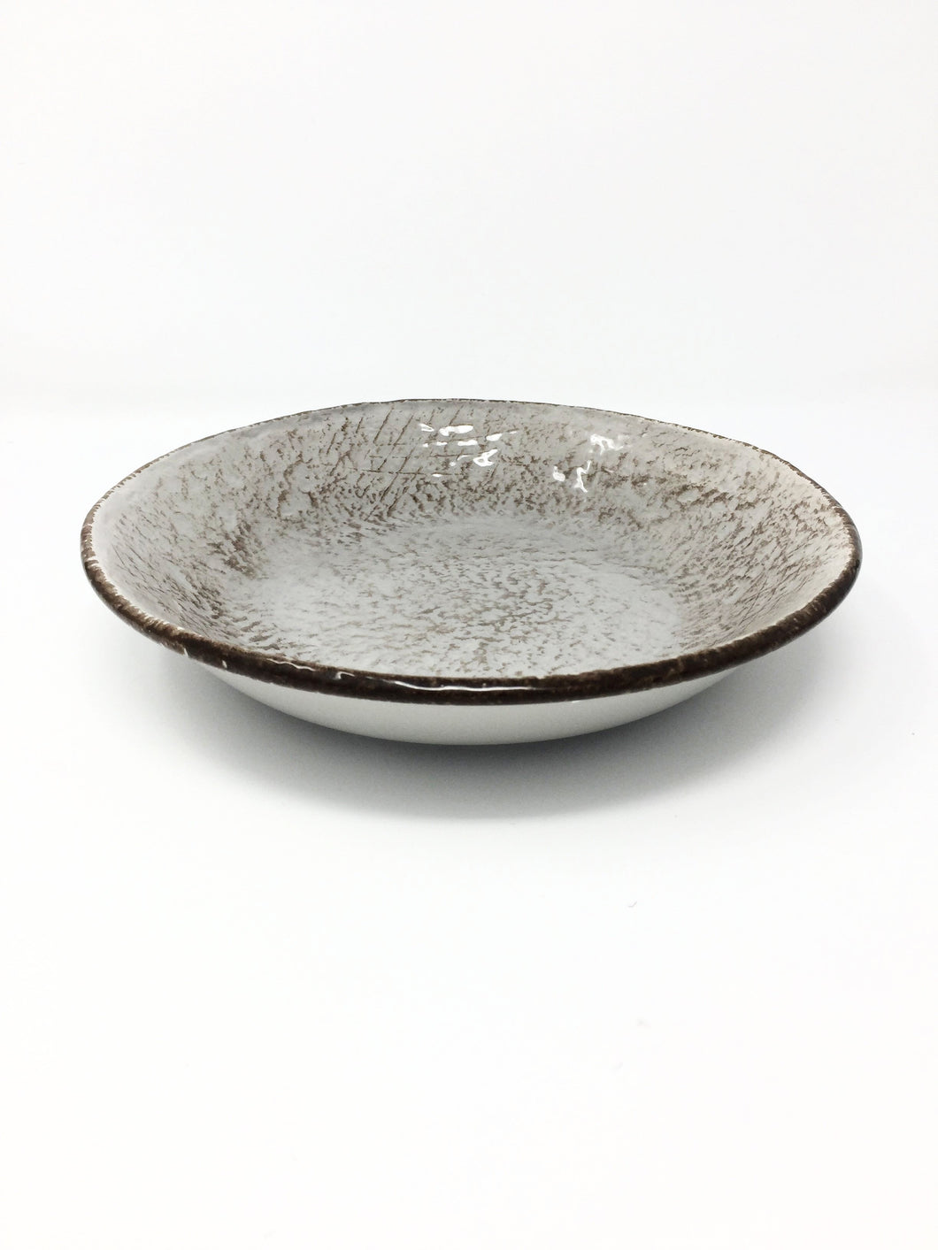 italian hand made soup bowl taupe brown