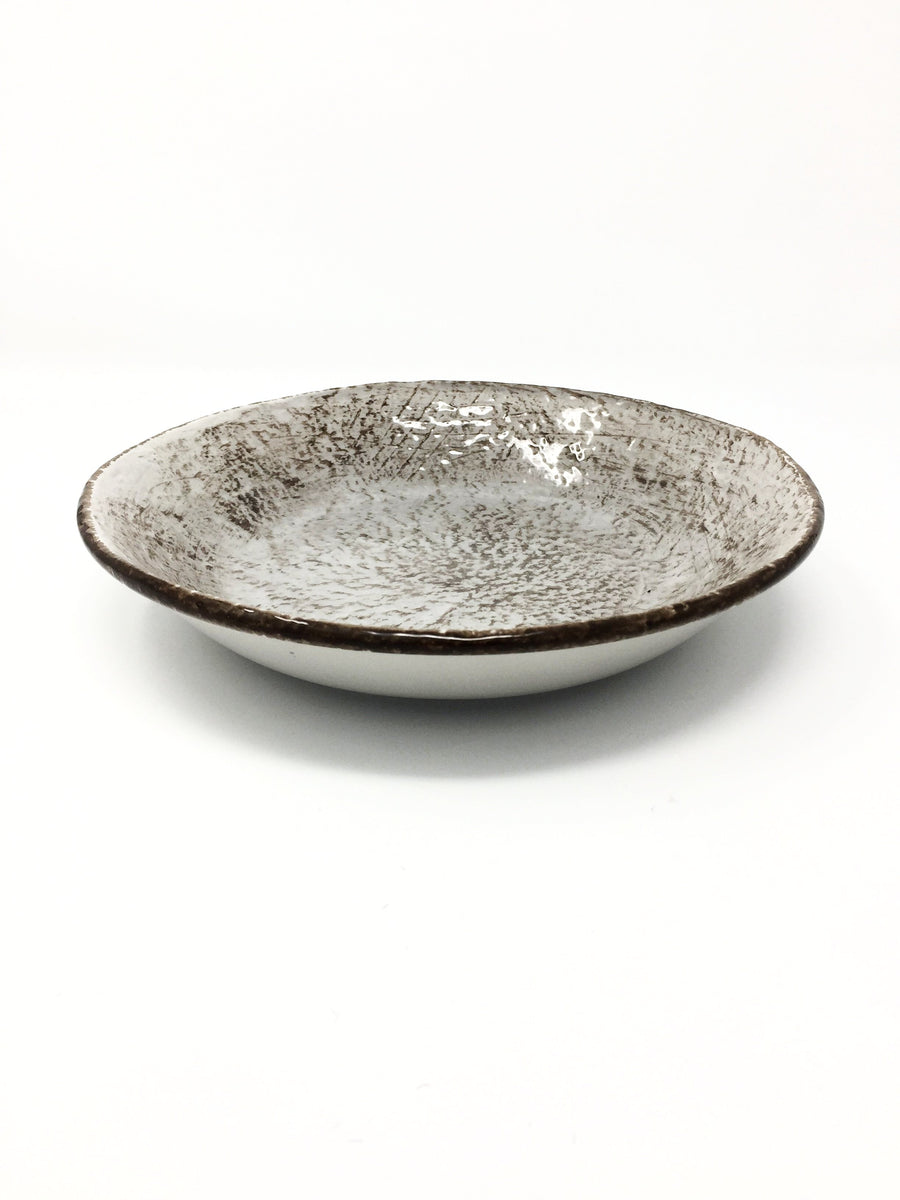 italian hand made soup bowl grey