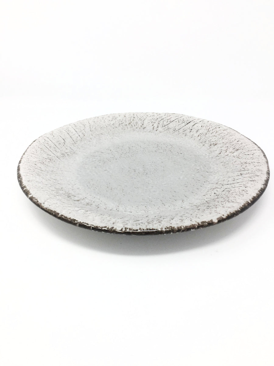 italian hand made dinner plate in taupe brown