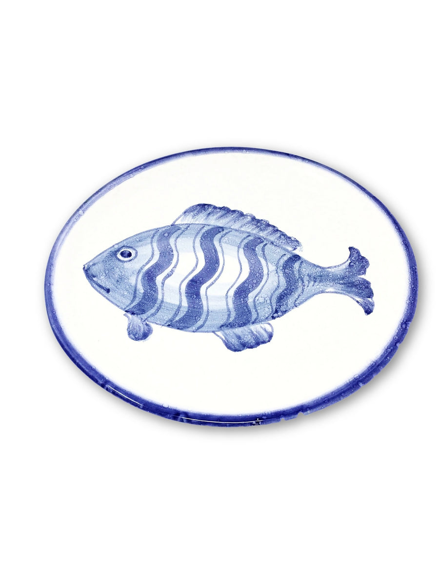 handmade italian fish plate in blue and white