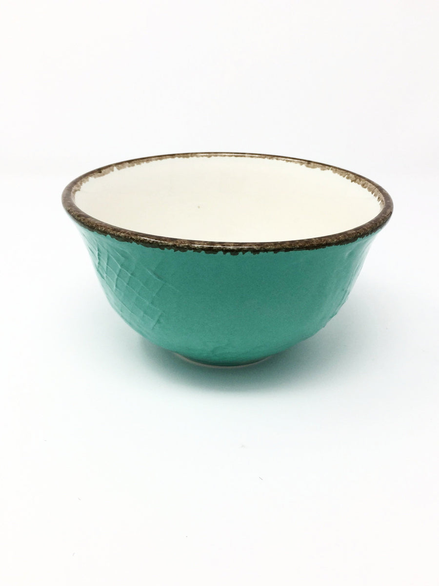 italian hand made cereal bowl aquamarine