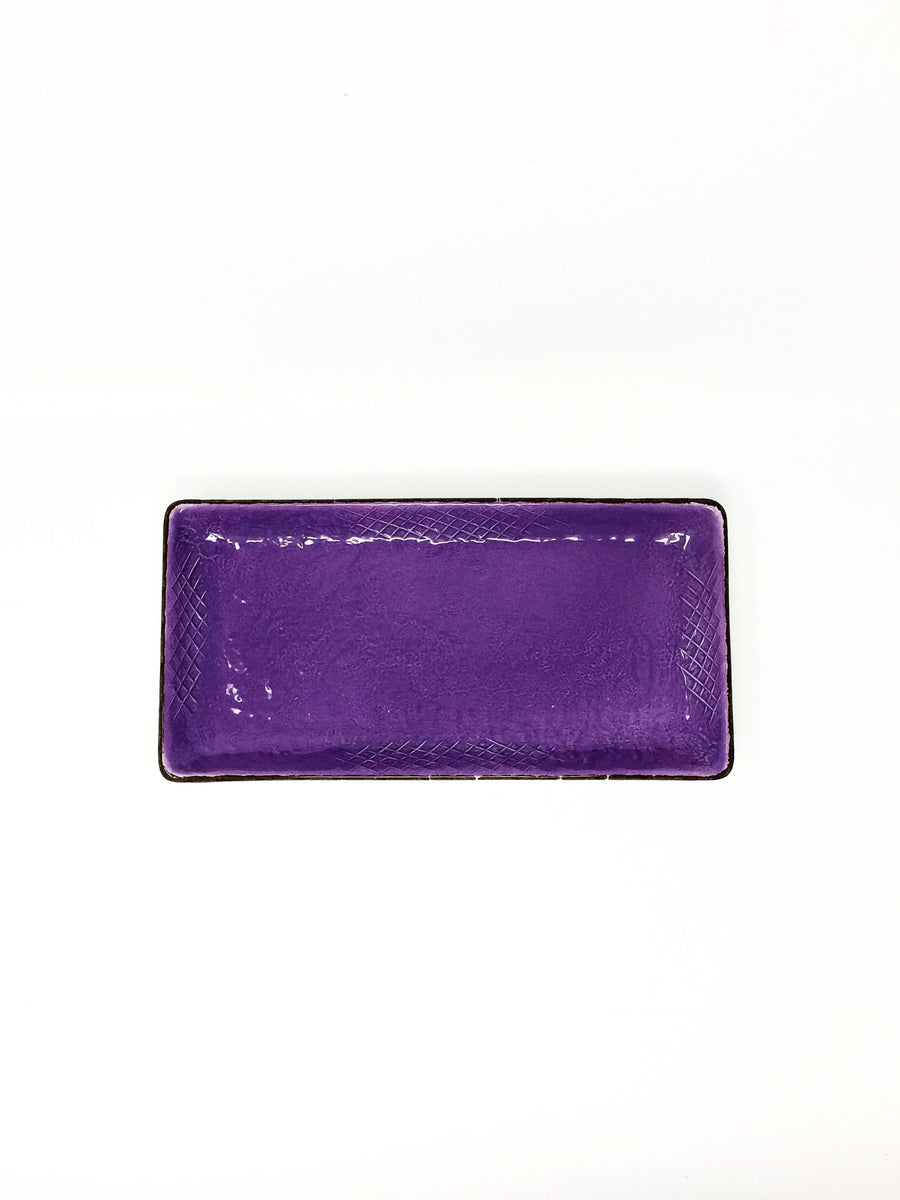 italian rectangular hand made lilac dish