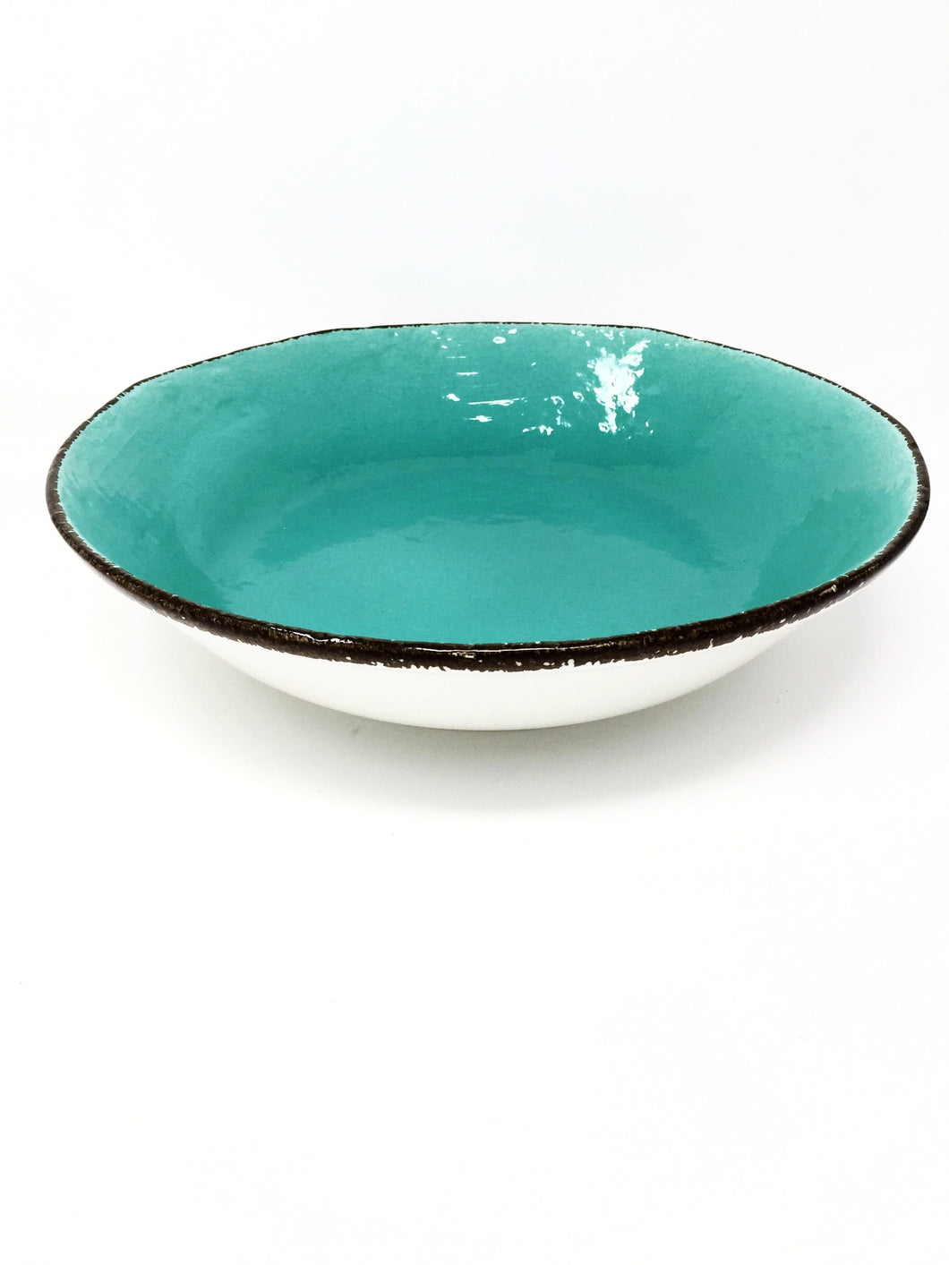 italian hand made salad bowl in aquamarine