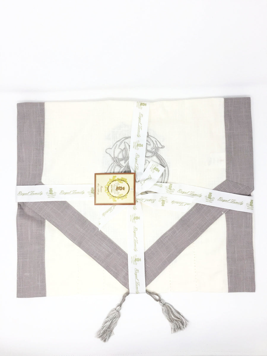 italian light brown cream table runner