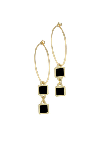 Francesca Bianchi -  Square Pendant Hoop Earrings - Black