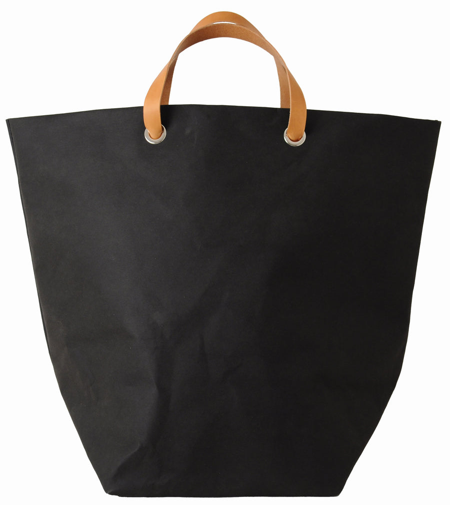Dafne Pascolini Recycled Cellulose Fibre Large Shopping Bag with leather handles - Black