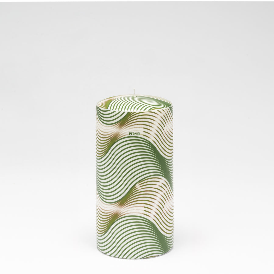 Pernici Candle - Green/Gold Waves -  Medium or Large