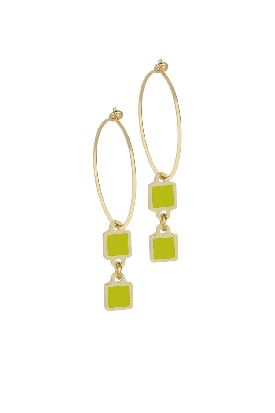 Francesca Bianchi - Square Pendant Hoop Earrings - Green