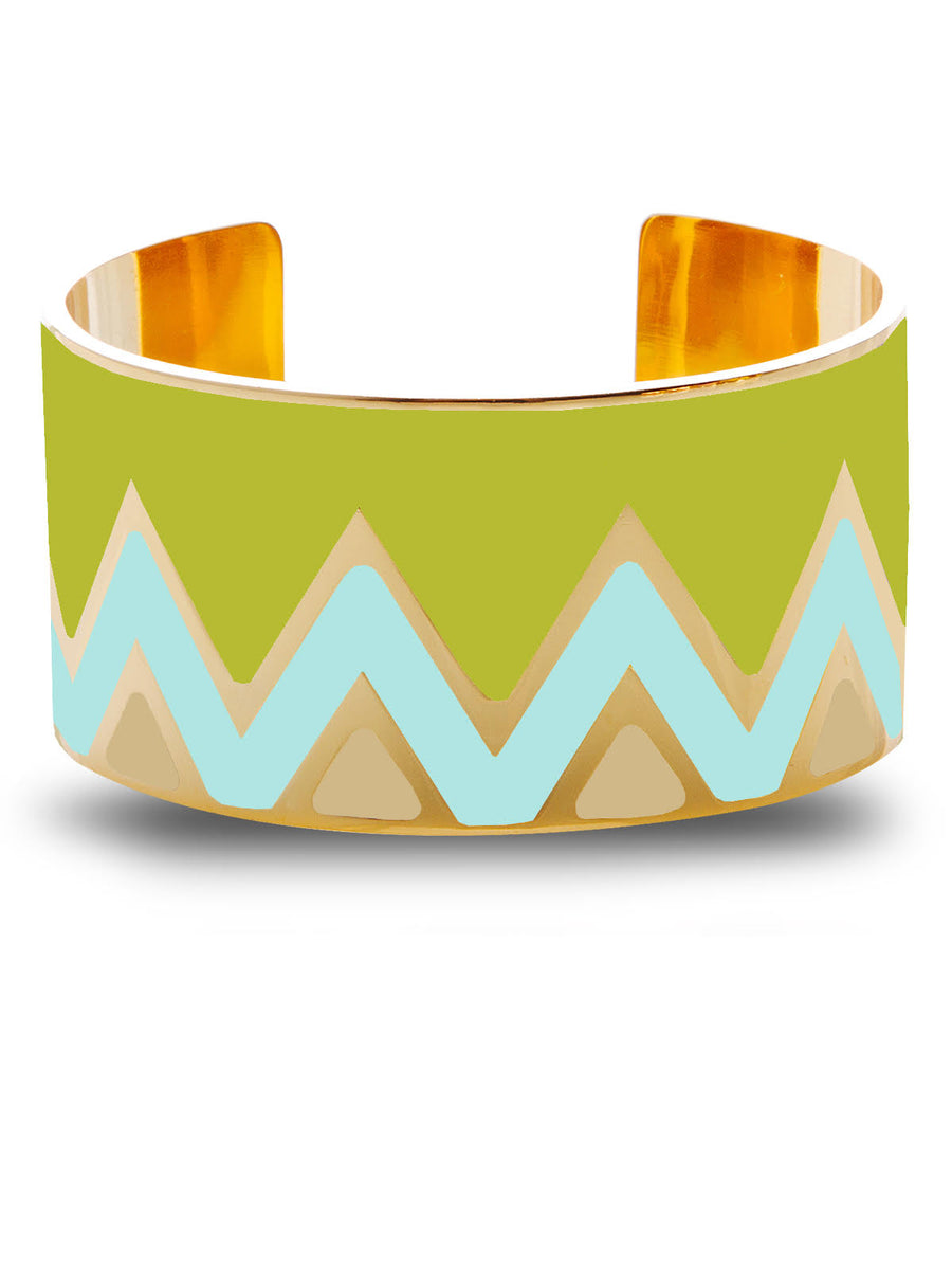Francesca Bianchi - Chevron Bangle - Green/Azure