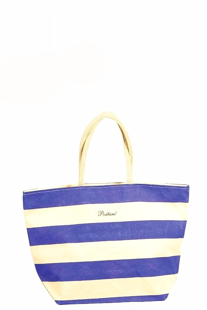 POSITANO Blue Striped Beach Bag.