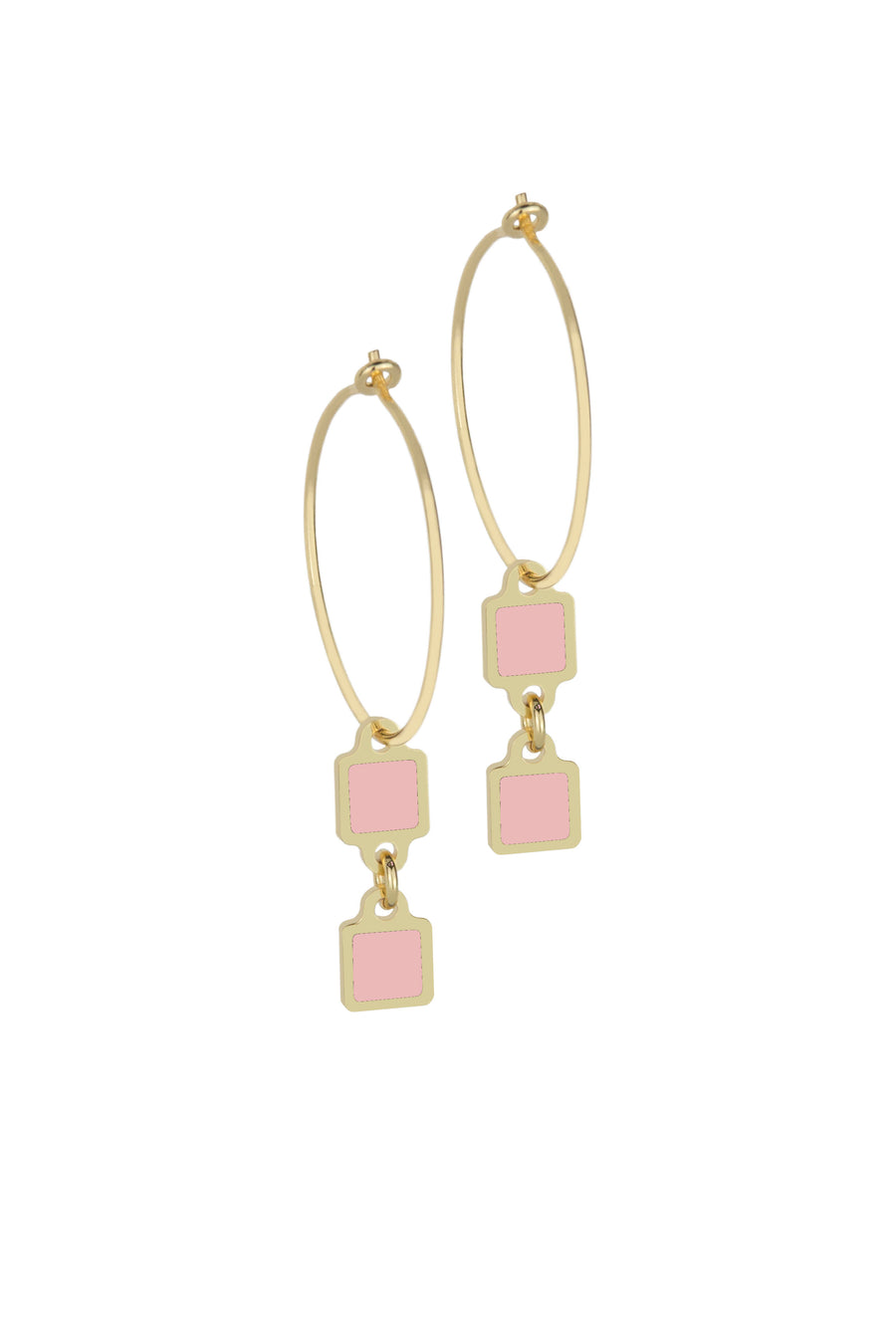 Francesca Bianchi -  Square Pendant Hoop Earrings - Pink
