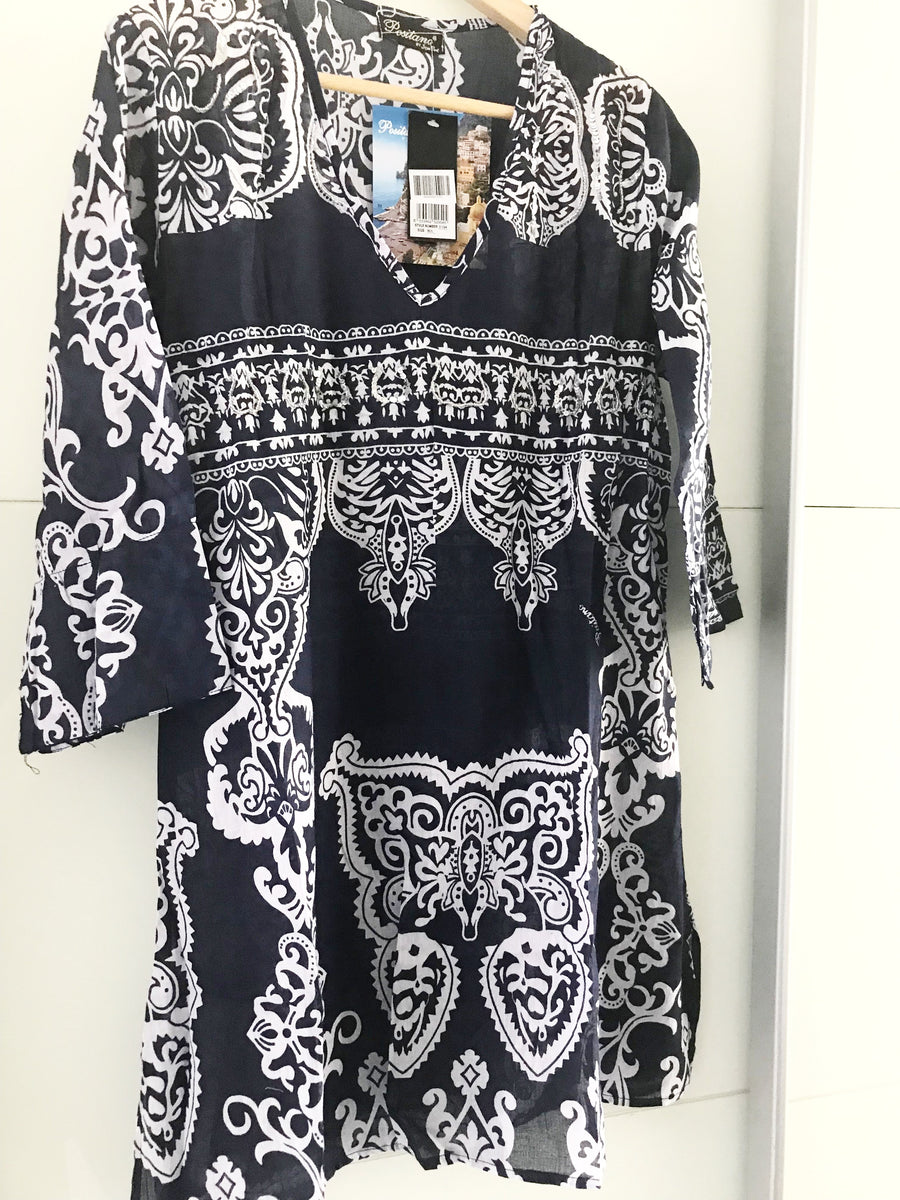POSITANO  Navy / White Printed Beach Dress 100% cotton.