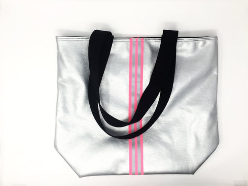 Italian silver and pink shopping bag