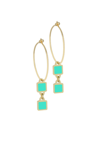 Francesca Bianchi - Square Pendant Hoop Earrings - Azure