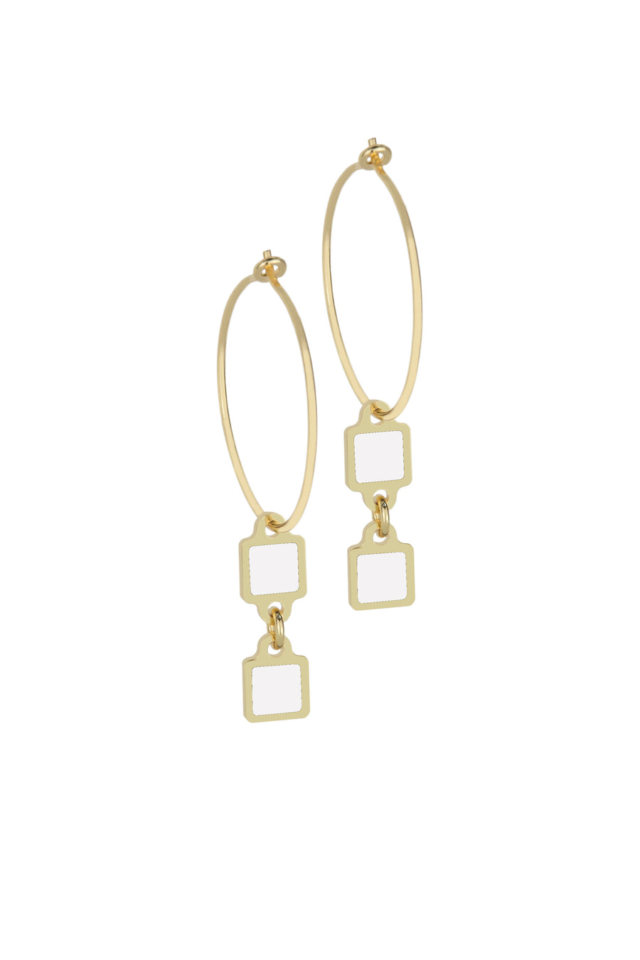 Francesca Bianchi - Square Pendant Hoop Earrings - White