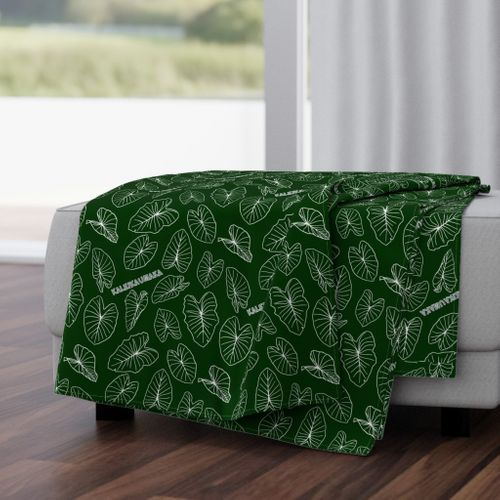Signature Green Hawaiian Kalo Personalized Blanket