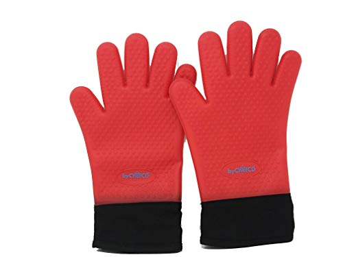 Long Safety Silicone Oven Mitts - Double-Layer Heat Resistant - Gloves BBQ, Cooking, Baking - ByChefCd Cooking products seller from Orlando, FL