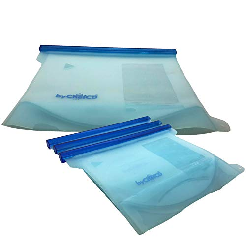 4 EXTRA THICK Silicone Reusable Sandwich Bags (1 Large 50oz + 3 Medium) Food Storage Freezer Bag - ByChefCd Cooking products seller from Orlando, FL