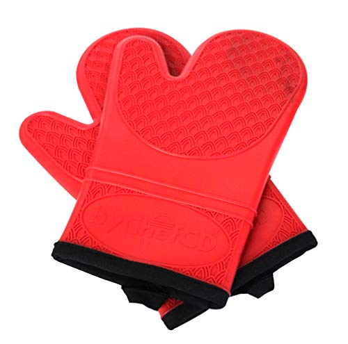 ByChefCD Silicone Oven Mitt (1 Pair) Double-Layer, Heat Resistant Baking Gloves Blue - ByChefCd Cooking products seller from Orlando, FL