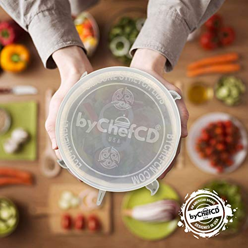 Silicone Lids - Reusable Food Wrap/Flexible Reusable Lids perfect Stretchable Lids for Bowl Covers, Replacement Lids, Silicone covers for bowls- Stretch and Seal Lids - ByChefCd Cooking products seller from Orlando, FL